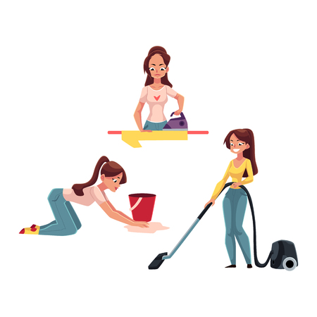 Young woman, housewife doing chores - ironing linen, washing and vacuum cleaning the floor, cartoon vector illustration isolated on white background. Woman, girl cleaning her house, ironing