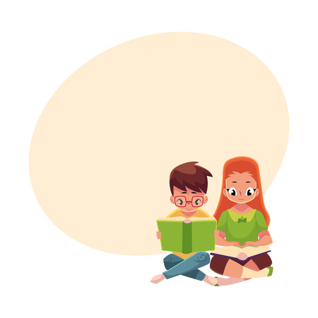 Two kids, boy in glasses and red haired girl, reading books sitting on the floor, cartoon vector illustration with space for text. Kids, boy and girl, reading books, sitting
