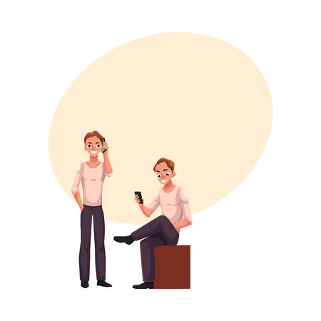 Young man using mobile phone while standing and sitting Illustration