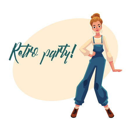 Retro disco party invitation, poster template, layout with woman in 1990s style clothes, denim jumpsuit, cartoon vector illustration. Nineties style disco party invitation banner poster template