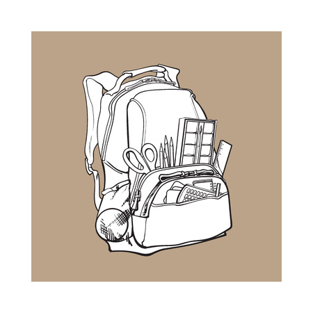Backpack packed with school items, supplies, sketch vector illustration isolated on brown background. School bag with personal belongings, school items, stationery objects