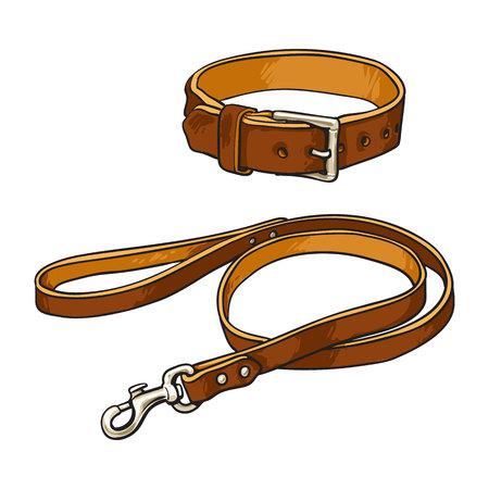 Laisse en cuir marron dessiné main, plomb et col pour animaux de compagnie. Banque d'images - 79938203