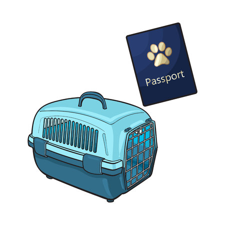 Travel with cats, dogs - plastic carrier and pet passport, sketch vector illustration isolated on white background. Hand drawn plastic pet carrier and passport, id for travelling with cats and dogs