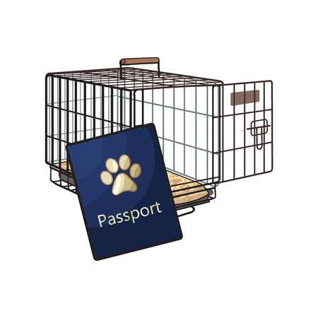 Travel with cats, dogs - metal wire carrier and pet passport, sketch vector illustration isolated on white background. Hand drawn metal wire pet carrier, crate, cage and passport, id for cats and dogs Çizim