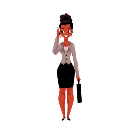 Young black, African American businesswoman with briefcase calling, talking by mobile phone, cartoon vector illustration isolated on white background. Black businesswoman standing, talking by phone Illustration