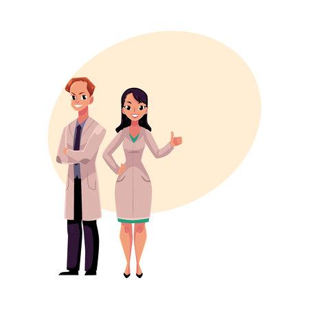 Male and female doctors in white medical coats. Ilustração
