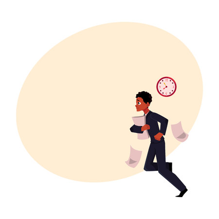 hurrying: Black, African American businessman hurrying to work, being late, cartoon vector illustration with space for text. Black businessman, worker, employee harrying somewhere losing documents