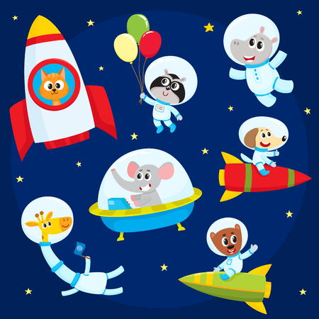 Little baby animal astronauts flying in open space