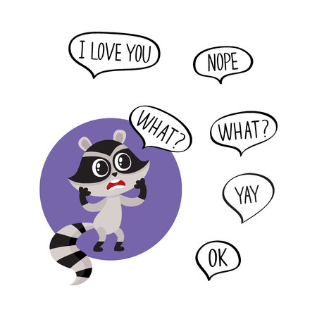 exclaiming: Little raccoon character unpleasantly surprised, exclaiming What and additionally phrase, cartoon vector illustration isolated on white background.