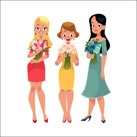Three beautiful women, girls, friends standing, holding bunches of flowers, cartoon vector illustration isolated on white background. Happy smiling girls, women, friends holding bunches of flowers