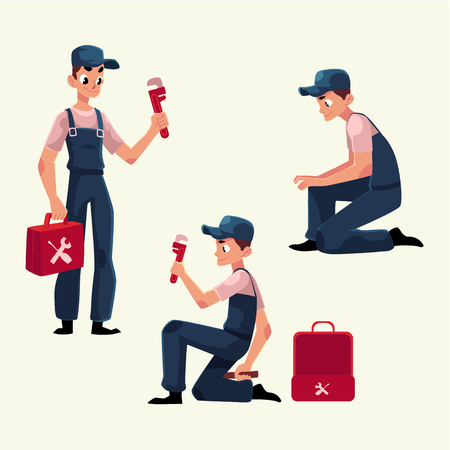 Plumbing specialist at work, repairing sewage pipes, sink, washing machine, cartoon vector illustration. Plumber, plumbing specialist, repairman at work, fixing Ilustrace