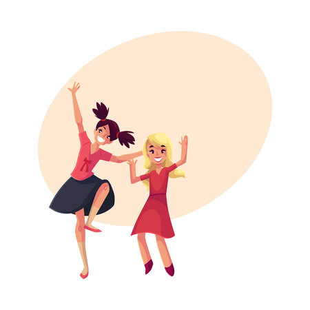 Two girls, one teenager with black ponytails, another blond preschooler, dancing at party, cartoon vector illustration with space for text. Happy girls dancing, having fun at a kids party Stock fotó - 80111327