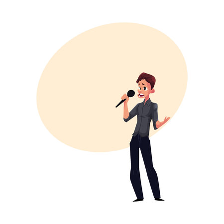Young man singing karaoke, holding microphone, cartoon, comic style vector illustration with space for text. Full length portrait of karaoke singer, competition, party, celebration