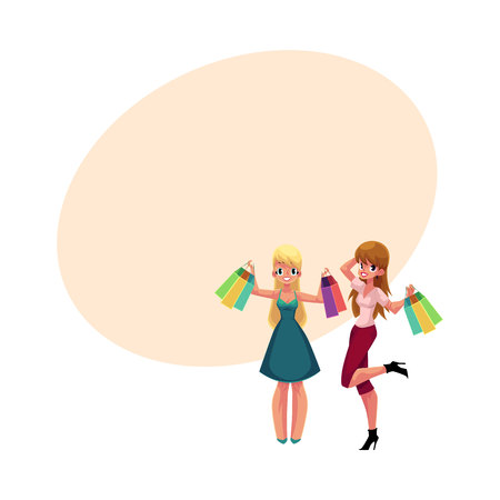 happy shopper: Two happy women, girls, friends with shopping bags, holiday sale concept, cartoon vector illustration with space for text. Couple of girls, women with shopping bags, happy shopping concept