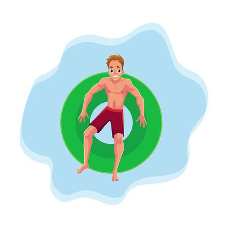 Jovem homem caucasiano em anel inflável flutuante descansando na posição estrela na superfície da água, ilustração vetorial da parte superior da ilustração. Jovem, natação em anel inflável, festa na piscina Foto de archivo - 80111341