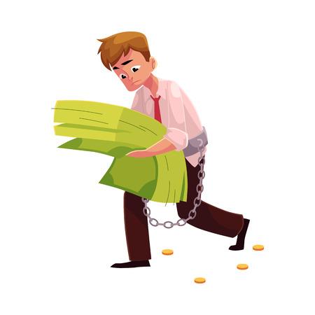 손, 금융, 돈에 의존, 만화 벡터 일러스트 레이 션 흰색 배경에 고립에서 지폐의 무거운 번들을 운반하는 사람 (남자). 그가 손에 든 지폐의 과도한 묶음