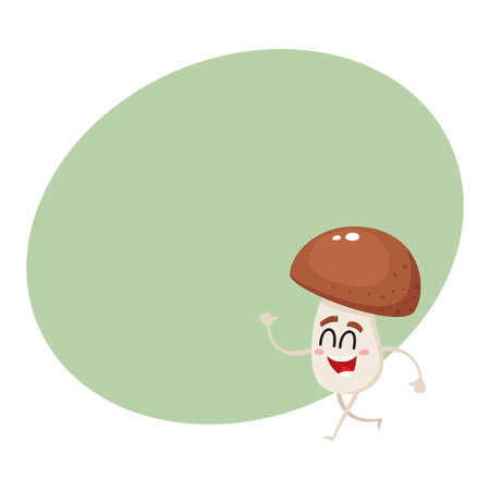 Funny porcini mushroom character with smiling human face and closed eyes walking, cartoon vector illustration with space for text. Smiling porcini mushroom character walking happily