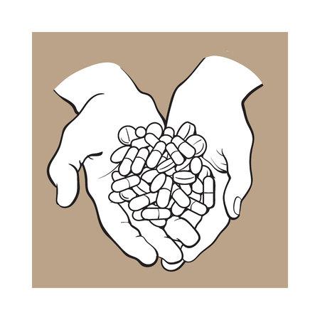 カップを両手一握り、丸薬、錠剤、薬、黒と白の山は茶色の背景のベクトル イラストをスケッチします。