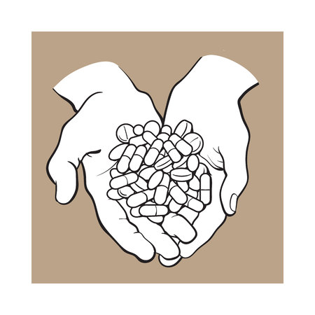 Two cupped hands holding handful, pile of pills, tablets, medicine, black and white sketch style vector illustration on brown background. Illustration