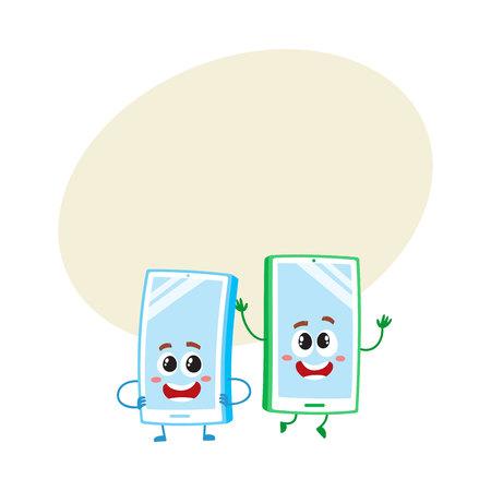 2 つの漫画の携帯電話キャラクター、1 つ腕 akimbo、別ジャンプ幸せ、テキスト用のスペース、ベクトル図です。携帯電話、スマート フォンの文字を 写真素材