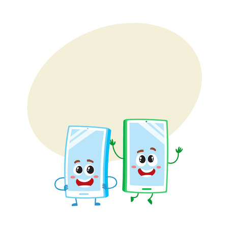Two cartoon mobile phone characters, one arms akimbo, another jumping happily, vector illustration with space for text. Two cartoon mobile phone, smartphone characters Stock Photo
