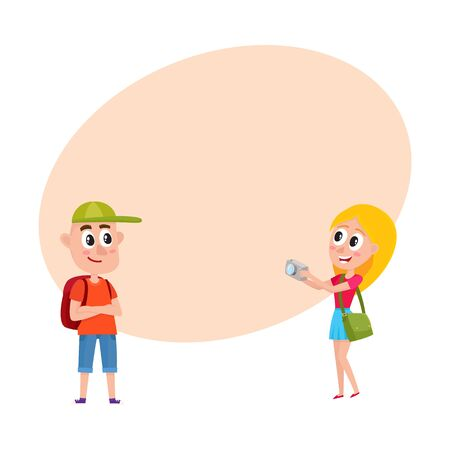 Couple of tourists, man and woman, with backpacks on vacation tour, making photo, cartoon vector illustration with space for text. Boy and girl tourists travelling, making photo, sightseeing