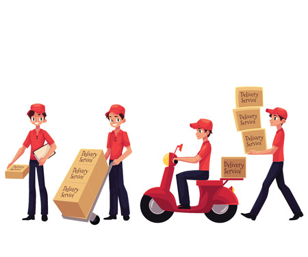 Young man working as courier, delivering goods, parcel, boxes, cartoon vector illustration isolated on white background. Delvery service man carrying boxes, using dolly, riding motorcycle Stock Photo