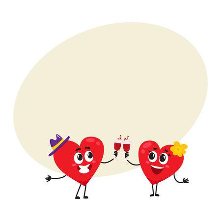 Twee harten rammelende bril, vieren, paar verliefd concept, cartoon vectorillustratie met ruimte voor tekst. Grappig paar harten met glazen, Valentine-dag, het concept van de huwelijksviering