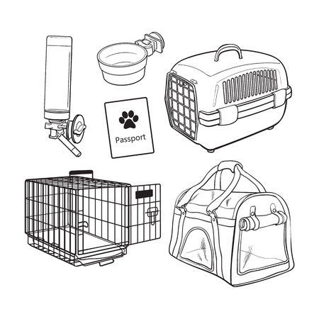 Pet transport, travel set - cage, carrier, bag, passport, drinker, food bowl, sketch vector illustration isolated on white background. Pet transport, travel accessories on white background