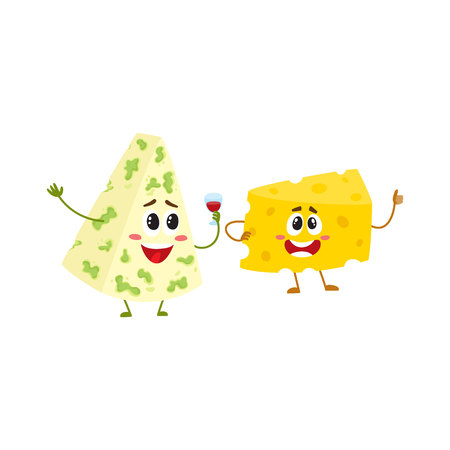 two Funny cheese chunk character showing thumb up, good quality concept, cartoon vector illustration isolated on white background. Funny cheese piece character, mascot with human face giving thumb up