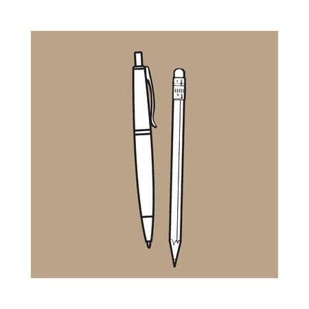 rollerball: Simple hand drawn ball point pen and pencil, office supplies, sketch style vector illustration isolated on brown background. Realistic hand drawing of red school pen and graphite pencil Stock Photo