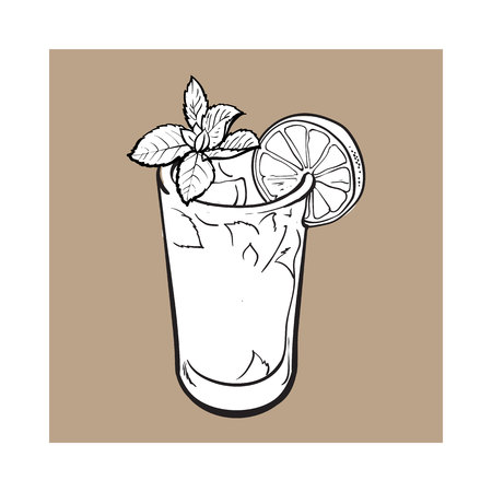 freshly: Tall glass full of freshly squeezed cold lime juice with ice and straw, sketch style vector illustration on brown background. Alcoholic cocktail with lime Stock Photo