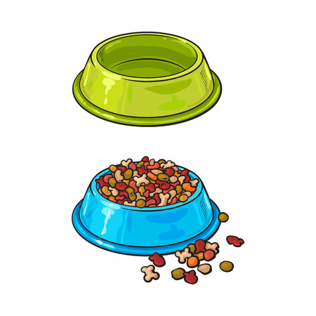 Two shiny plastic bowls, one empty, another filled with dry pet, cat, dog food, sketch vector illustration isolated on white background. Hand drawn bowls, plates for pet, dog, cat food, empty and full Stock Photo