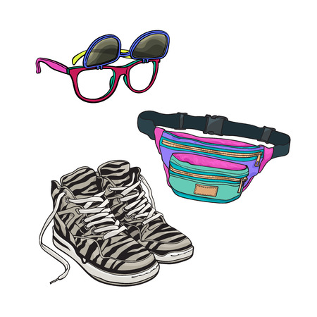90s fashion accessories - sneakers, sunglasses with removable lenses, waist bag, sketch vector illustration isolated on white background. Retro fashion - sneakers, removable lens sunglasses, waist bag 向量圖像