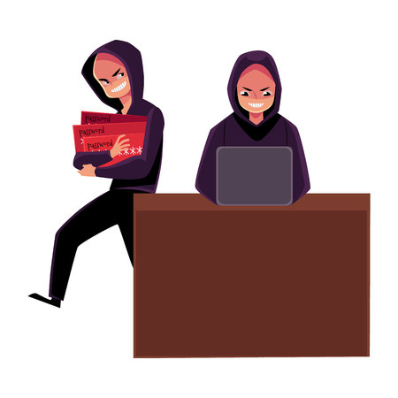 Hacker using laptop for cybercrime, breaking pin code, stealing money from credit card, cartoon vector illustration isolated on white background. laptop hacking, breaking, cracking, credit card fraud Stok Fotoğraf - 80110942