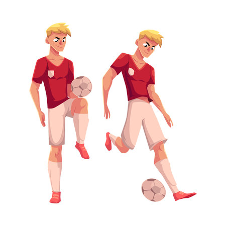 Handsome blond soccer player dribbling a ball, cartoon vector illustration isolated on white background. Full length portrait of professional soccer player kicking it up with knee