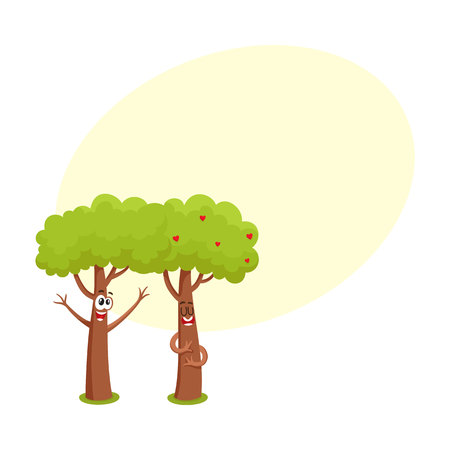 Two funny tree characters, one hugging, showing love, another raising branches, cartoon vector illustration with space for text. Couple of funny tree characters, mascots, flirting and love