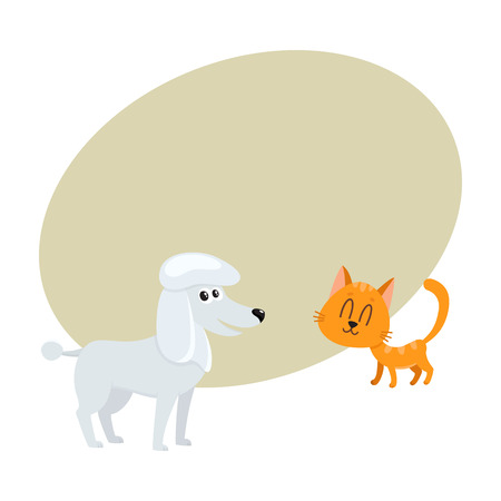 poodle dog dog and red cat, kitten characters, pets, friendship concept, cartoon vector illustration with space for text. poodle dog dog and red cat characters, friends Illustration