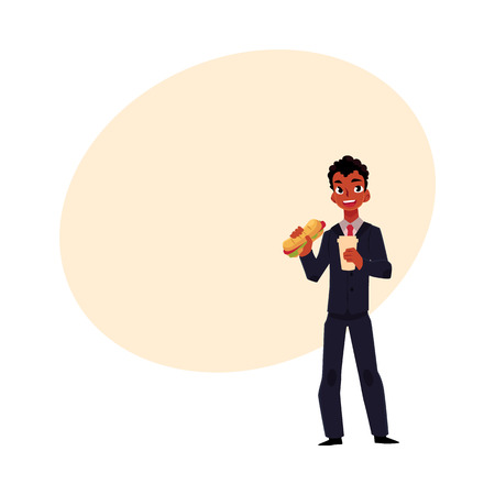 Black African American businessman eating sandwich, holding coffee cup, lunch break concept, cartoon vector illustration with space for text. Black businessman, manager eating lunch on the go