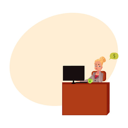 Young blond businesswoman, secretary, sitting at office desk, thinking about money, cartoon vector illustration with space for text. Businesswoman, secretary, office manager thinking of money 向量圖像