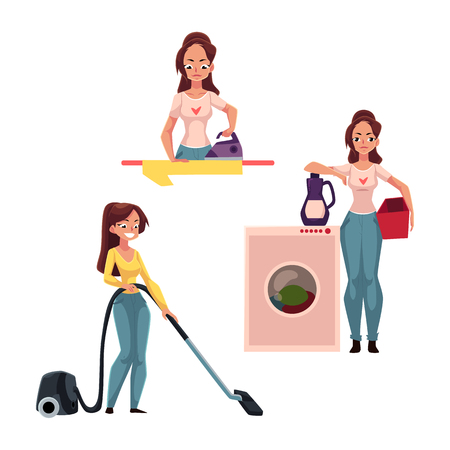 Young woman, housewife doing chores - ironing, washing, vacuum cleaning, mopping floors, cartoon vector illustration isolated on white background. Woman, girl cleaning her house, washing, ironing Çizim