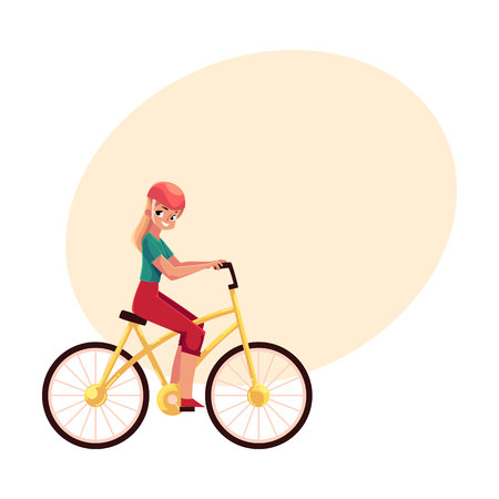 Young pretty blond woman, girl riding a bicycle, cycling, cartoon vector illustration with space for text. Full length, side view portrait of young long haired woman riding a bicycle, cycling 向量圖像