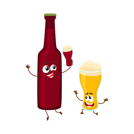 Funny beer bottle and glass characters having fun, drinking, holding glasses, cartoon vector illustration isolated on white background. Funny beer bottle and glass characters with smiling human faces Illustration
