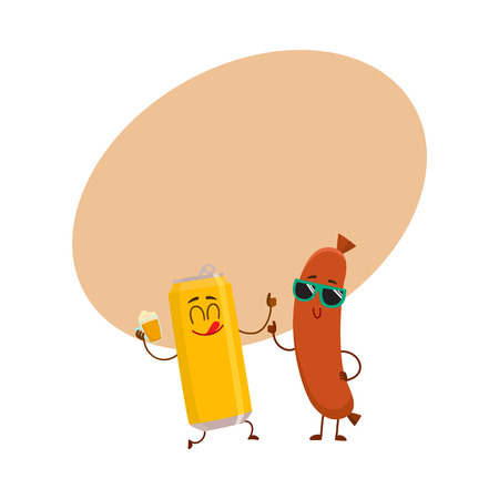 Funny beer can and frankfurter sausage characters having fun together, cartoon vector illustration with space for text. Funny smiling beer can character giving thumb up, sausage poiting to it Illustration