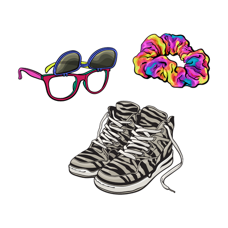 90s fashion accessories isolated on white background. Иллюстрация