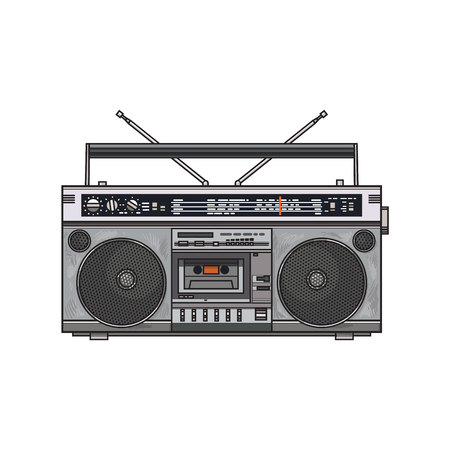 Front view of hand drawn audio tape recorder, boom box