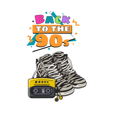 walkman: Pair of zebra sneakers and audio player from 90s, retro fashion icons, sketch vector illustration isolated on white background.