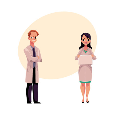 Male and female doctors in white medical coats, man with folded arms, woman holding blank sign, board, cartoon vector illustration with space for text. Full length portrait of two doctors Illustration