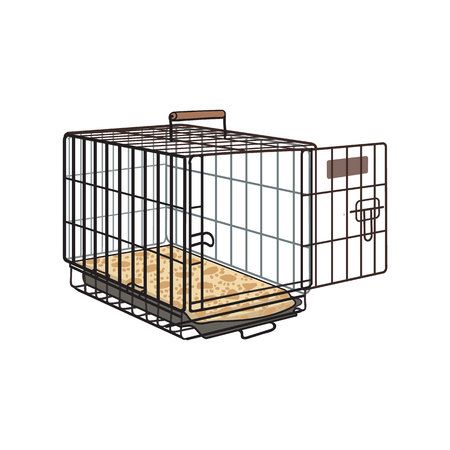 Metal wire cage, crate for pet, cat, dog transportation, sketch style vector illustration isolated on white background. Hand drawn metal wire dog crate, cage on white background