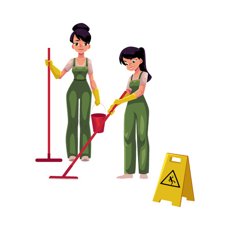 Two cleaning service girls, charwomen in overalls using mops and bucket, wet floor sign, cartoon vector illustration isolated on white background. Cleaning service girls in uniforms washing floor Illustration